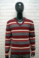 DIESEL Maglione Uomo Pullover Lana Maglia XL Sweater Casual Cardigan Righe Rosso