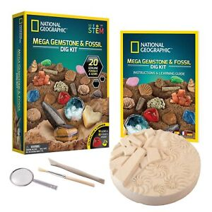NATIONAL GEOGRAPHIC Mega Fossil and Gemstone Dig Kits - Excavate 10 Real Foss...