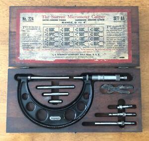Vintage L.S. Starrett Company Micrometer Caliper No. 224 Set AA 0-4 inch
