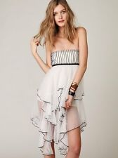 NWOT Free People FP One Cascade of Ruffles Sheer Slip Dress M Ivory White Rare