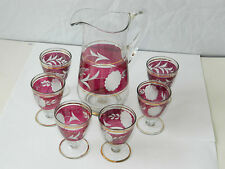 Cut Glass Pitcher w/ 6 Small Cups Liqueur Serving Set, ca.1980