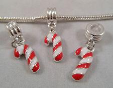 Nuevo plateado plata Navidad Candy Cane cuelgan granos encaja europeo encanto pulsera
