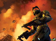 "Halo 1 2 3 4 Game Fabric poster 32"" x 24"" Decor 2-01"