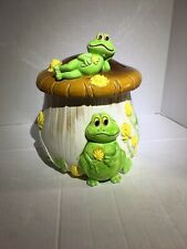 Vintage Frog on Toadstool Mushroom Cookie Jar Retro Frog Cookie Jar Cute Japan