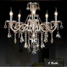 Luxury Amber 5 Bulbs Crystal Pendant Light Candle Chandelier Lighting Fixtures