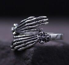 Antique 925 Sterling Silver Gothic Skull Skeleton Hand VINTAGE ring rings S2418