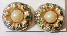 boucles d'oreilles bijou vintage clips rondes résine couleur perle * 3751