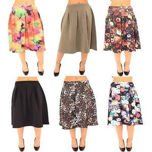 Ladies Scuba Skirt Ex Branded Stretched Full A-Line Shaped Hoxton Midi Box Pleat