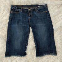 "Lucky Brand Womens Size 6 / 29 Zoe Bermuda Blue Jean / Denim Shorts 13"" Inseam"