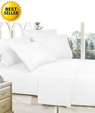 Bed Sheet Set Queen Size Deep Pocket White Soft Egyptian Cotton Super 1500 TC