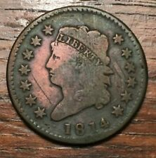 1814 US Classic Head Large Cent - Crosslet 4 S-294 Scratches and Cleaned