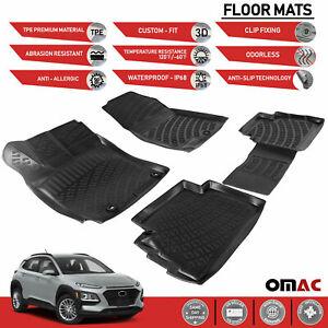 Floor Mats Liner Black 3D Molded 4 Pcs. Fits Hyundai Kona 2018-2021