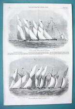 1858 Woodcut Engraving - ENGLAND Paglesham Regatta & Yacht Club Race