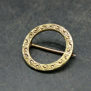 VINTAGE SOLID 14k YELLOW GOLD BLOUSE BROOCH PIN ROUND WAVE ENGRAVING
