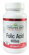 Folic Acid 400ug 90 Tablets - Vegan - Vegetarians - Natures Aid - FREE UK POST