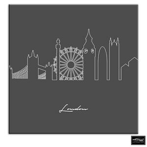 London Abstract Line Art City BOX FRAMED CANVAS ART Picture HDR 280gsm