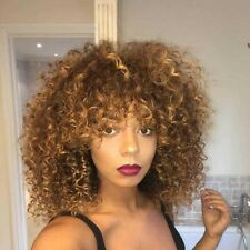 Afro Kinky Curly Wig Brazilian Hair with Ombre Golden Brown for Women
