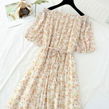 Women's Floral Dress Off Shoulder Pleated French Vintage Style Summer Beach Slim
