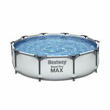 """Bestway 10' x 30"""" Steel Pro Frame Max Round Above Ground Swimming Pool with Pump"""