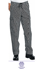 Trousers London 01 Cook Isacco Comfortable with Shoelace Chef Pinstriped