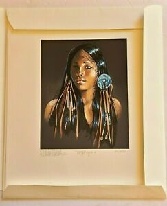 1993 Penni Anne Cross Hand Signed 'NIGHT EYES I' Native America Art Litho 86/275