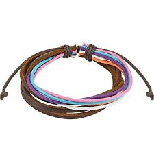 Brown Leather & Multi Colored Strands Drawstrings Bracelet Adjustable Fits Most