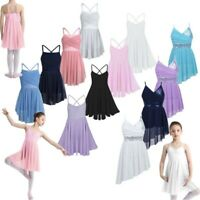 Girls Sequin Lyrical Ballet Dance Dress Kid Leotard High Low Skirt Gym Dancewear