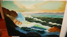 LARGE OIL ON CANVAS SEASCAPE PAINTING SIGNED