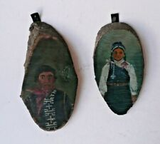 More details for pair of vintage peruvian hand painted on woodcuts highland south american
