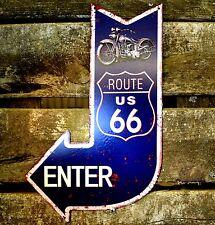 Blechschild Pfeil Bike Route 66 USA Werkstatt Garage Metallschild Schild Deko