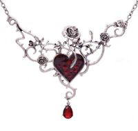 Women Halloween Retro Silver color Vampire Red Heart Rose Witch Punk Necklace