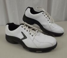 Callaway Mens Golf Shoes 10.5 White Lace Up Leather Soft Spike Comfort Tech