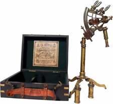 Latón náutica sextante Marino Antiguo De Madera Con Caja de navegación barco antiguo hecho a mano