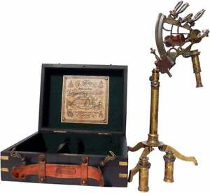 Antique nautical astrolabe brass ship beautiful stand sextant with hardwood box