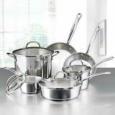 Stainless Steel Induction Cookware 10PC Set Pots Lids Fry Pans Oven Safe Kitchen