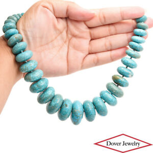 Estate Turquoise 14K Gold Clasp Beaded Graduated Necklace 215.7 Grams NR
