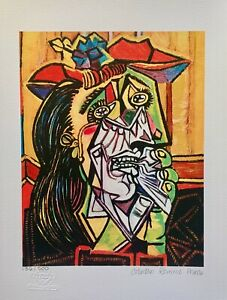 """Pablo Picasso WEEPING CRYING WOMAN Estate Signed & Numbered Giclee Art 17"""" x 11"""""""