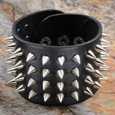 Punk Leather Black 4 Row Rivet Spike Stud Gothic Rock Bracelet Cuff Bangle CG