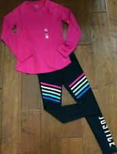 NWT JUSTICE Girls 10 Pink Long Sleeve Tee & Rainbow Stripe Leggings Outfit