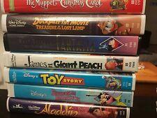 7 Disney VHS  the muppet christmas carol, toy story ,Aladdin