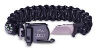 Outdoor Edge ParaSpark, Black, Survival Bracelet, Compass, Knife, Whistle, Ferro