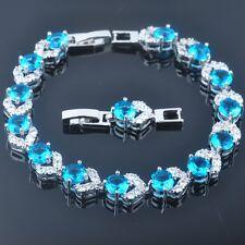 7-8 inch Shining Blue Topaz For Women 925 Silver Jewelry Bracelets SL0120