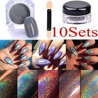 10x 2g Glitter Holographic Laser Powder Nail Rainbow Chrome Pigments Decor+Brush