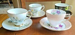 LOT 4 English Bone China Tea Cups & Saucers Coclough Royal Vale Adderley England