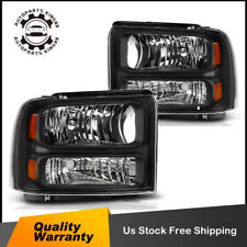 For 05-07 Ford F250 F350 F450 F550 SuperDuty Black Headlight Amber Corner Signal