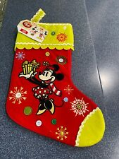 Disney Store Retired Embroidered Christmas Stocking Minnie Mouse Holiday Nwt