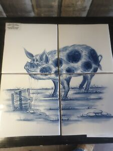 Country Life Hand Painted Pig Wall Tile Plaque