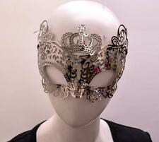 MASQUERADE BURLESQUE METAL HALF FACE CUT OUT CROWN CAT EYE SELF TIE MASK