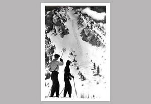 FIGURE 8 Classic Black-and-White 1940s Skiers Down Mountain POSTER Print