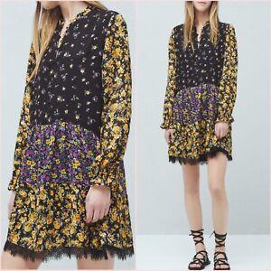 SALE Floral Bohemian Lace Hem Long Sleeve Dress Size S 8 UK US 4 Blogger ❤